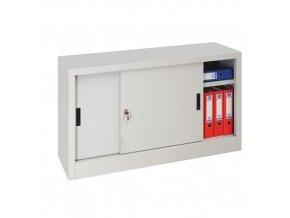 Kovová spisová skříň s posuvnými dveřmi, 1 police, 75 x 120 x 45 cm