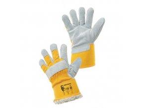 Zimní kožené rukavice CXS, žluté/bílé