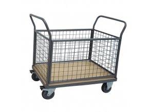 Plošinové vozíky Manu se dvěma madly s mřížovou výplní a bočními stěnami, do 500 kg