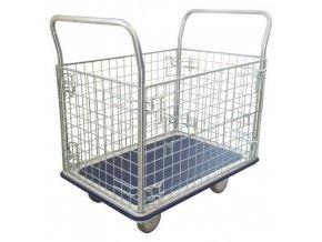 Plošinový vozík Manu se dvěma madly a čtyřmi mřížovými stěnami, do 300 kg