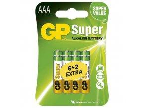 Alkalická baterie GP Super LR03 (AAA), blistr