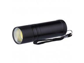 LED svítilna kovová, 3W COB LED, na 3x AAA černá