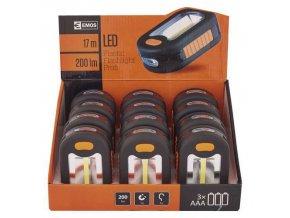 LED svítilna plastová, 3 COB LED, na 3x AAA, 12 ks
