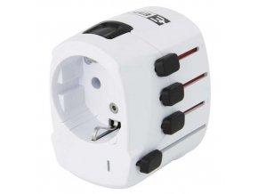 Cestovní adaptér bílý (pro Evropany v zahraničí), bílá
