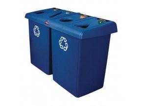 Plastové odpadkové koše Rubbermaid Glutton na tříděný odpad, objem 4 x 87 l