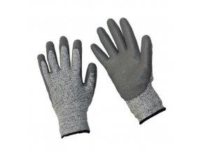 Polyethylenové rukavice Manutan polomáčené v polyuretanu, šedé