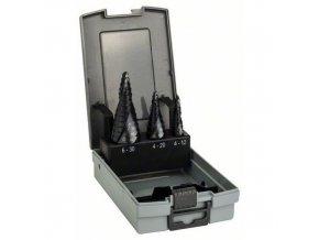 Bosch - 3dílná sada stupňovitých vrtáků HSS-AlTiN 4-12; 4-20; 6-30 mm