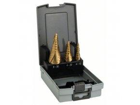 Bosch - 3dílná sada stupňovitých vrtáků HSS-TiN 4-12; 4-20; 6-30 mm