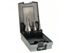 Bosch - 3dílná sada stupňovitých vrtáků HSS 4-12; 4-20; 6-30 mm