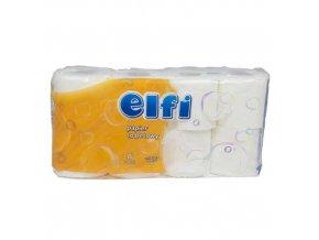 Toaletní papír Elfi 2vrstvý, 11,5 cm, 200 útržků, 100% celulóza, 8 rolí