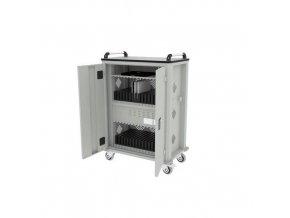 Mobilní skříň s napájením na tablety,  32 přihrádek, šedá/šedá