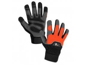 Kožené rukavice CXS Puno ze syntetické kůže, černé/oranžové