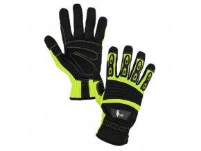 Kožené rukavice CXS Yema ze syntetické kůže, černé/žluté
