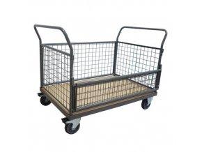 Plošinové vozíky Manu se dvěma madly s mřížovou výplní a bočnicemi, do 500 kg