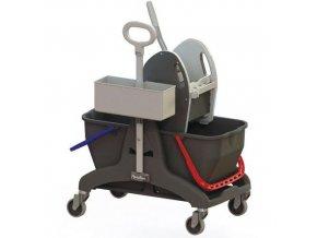 Úklidový vozík Manu s pákovým ždímačem, objem 2 x 15 l