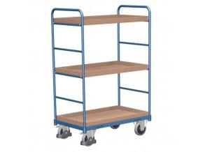 Vysoký policový vozík do 250 kg, 3 police s vyvýšenými hranami