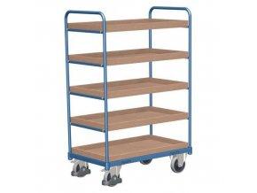 Vysoký policový vozík do 250 kg, 5 polic s vyvýšenými hranami