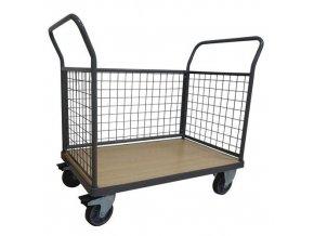 Plošinové vozíky Manu se dvěma madly s mřížovou výplní a boční stěnou, do 500 kg