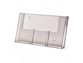 Nástěnný plexi zásobník na letáky JD14, 3 kapsy na výšku, DL