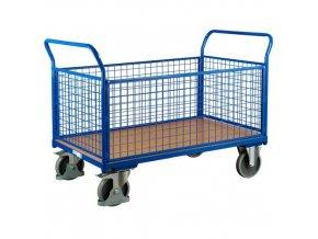 Plošinové vozíky se dvěma madly s mřížovou výplní a bočními stěnami, do 500 kg
