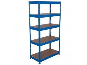Kovový regál Basic, 176 x 120 x 30 cm, 175 kg/police, 5 dřevotřískových polic, modrý