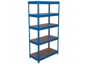 Kovový regál Basic, 176 x 120 x 60 cm, 175 kg/police, 5 dřevotřískových polic, modrý