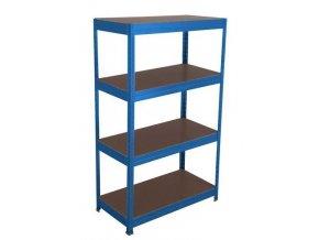 Kovový regál Basic, 176 x 150 x 45 cm, 175 kg/police, 4 dřevotřískové police, modrý