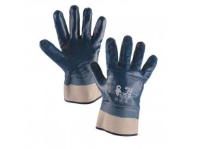 Bavlněné rukavice CXS máčené v nitrilu, modré/bílé