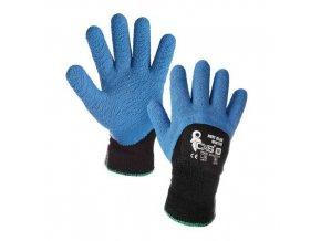 Zimní akrylové rukavice CXS polomáčené v latexu, modré/černé