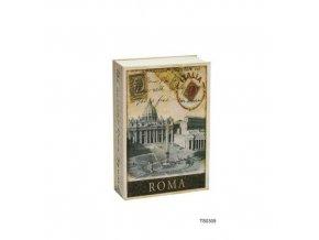 Kovová bezpečnostní schránka ve tvaru knihy Roma