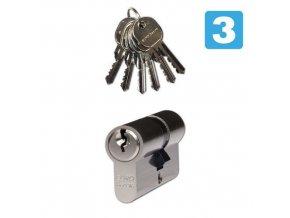 Bezpečnostní vložky EuroSecure, 55 mm, nikl