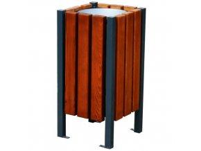 Kovový venkovní odpadkový koš Ragnar s dřevěným obložením, 45 l