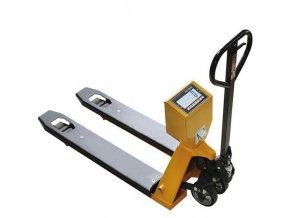 Paletový vozík s váhou a tiskárnou, do 2 000 kg, pogumovaná řídicí kola, s EU ověřením