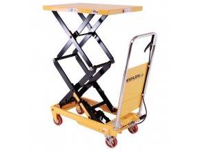 Mobilní hydraulický zvedací stůl, do 150 kg, deska 74 x 45 cm, dvojité nůžky