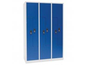 Svařovaná šatní skříň Carl, dveře Z, 6 oddílů, cylindrický zámek