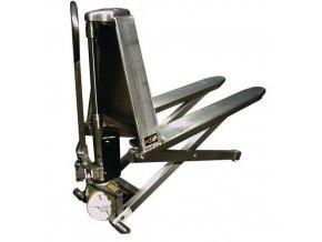 Nerezový nůžkový paletový vozík, do 1 000 kg, výška zdvihu 800 mm