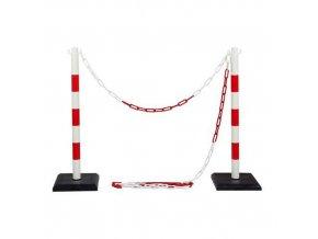 Plastové zahrazovací sloupky Ping s řetězem, výška 90 cm, 2 ks
