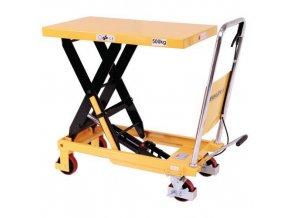 Mobilní hydraulický zvedací stůl, do 500 kg, deska 81,5 x 50 cm