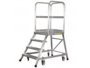 Pojízdný hliníkový plošinový žebřík Zarges, 4 stupně