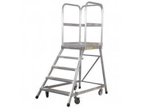 Pojízdný hliníkový plošinový žebřík Zarges, 5 stupňů