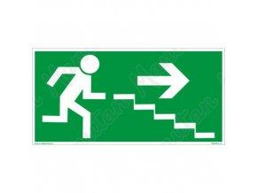 Únikové fotoluminiscenční bezpečnostní tabulky - Únikové schodiště vpravo dolů