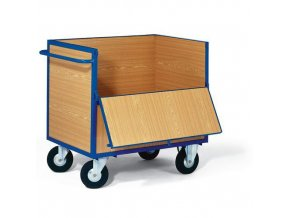 Uzavíratelný skříňový vozík s madlem a plnými stěnami, do 400 kg, 2 sklopné stěny