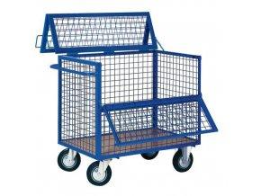 Uzavíratelný skříňový vozík s madlem a mřížovými stěnami, do 400 kg, 2 sklopné stěny