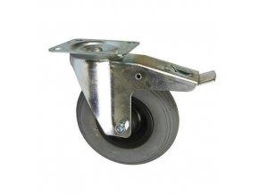 Bantamové kolo s přírubou, průměr 200 mm, otočné s brzdou, valivé ložisko