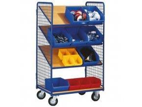 Vysoký policový vozík s šikmými policemi, do 200 kg, 3 šikmé police