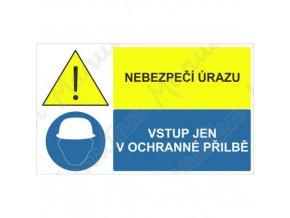 Výstražná tabulka - Nebezpe??í úrazu vstup jen v ochranné přilbě