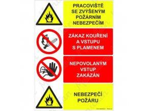 Výstražná tabulka - Pracoviště se zvýšeným požárním nebezpečím