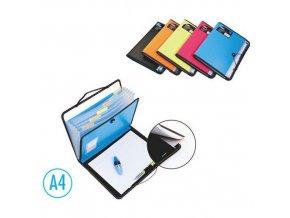 Desky na spisy DELI A4 7 přihrádek + blok, modré