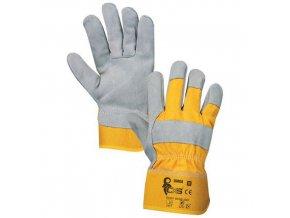 Kožené rukavice CXS, šedé/žluté