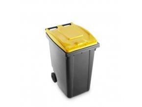 Plastová popelnice Benny na tříděný odpad, objem 360 l, šedá/žlutá